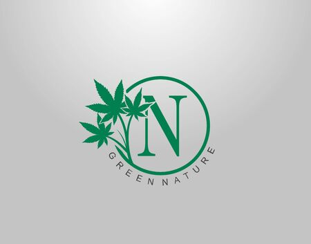 N Letter Logo Circle Nature Canabis Leaf, vector logo design concept medical marijuana leaf with initial letter logo icon for nature business.