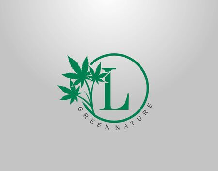 L Letter Logo Circle Nature Canabis Leaf, vector logo design concept medical marijuana leaf with initial letter logo icon for nature business.