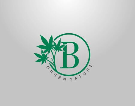 B Letter Logo Circle Nature Canabis Leaf, vector logo design concept medical marijuana leaf with initial letter logo icon for nature business.