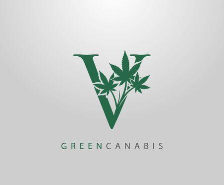 Letter V Green Canabis Logo, Initial V With Medical Marijuana Leaf Design.