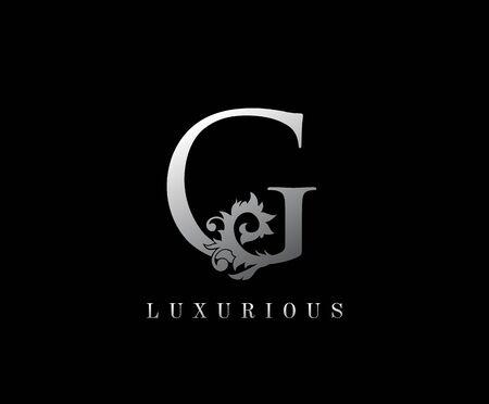 G Letter Floral logo. Vintage silver majestic letter stamp for book design, weeding card, label, business card, Restaurant, Boutique, Hotel.