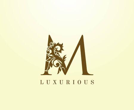 M Letter Classic logo. Vintage Brown letter stamp for book design, weeding card, label, business card, Restaurant, Boutique, Hotel.