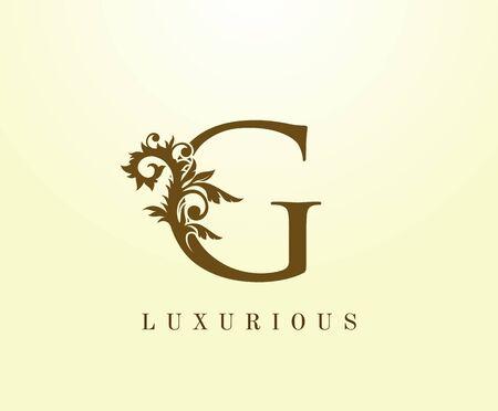 G Letter Classic logo. Vintage Brown letter stamp for book design, weeding card, label, business card, Restaurant, Boutique, Hotel.