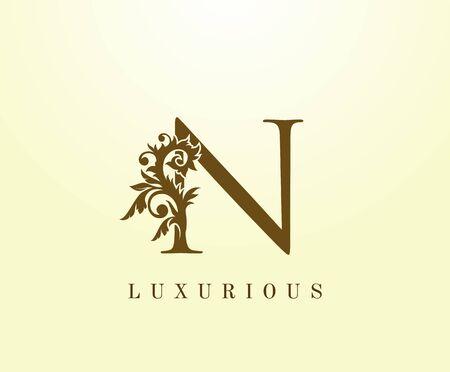 N Letter Classic logo. Vintage Brown letter stamp for book design, weeding card, label, business card, Restaurant, Boutique, Hotel.