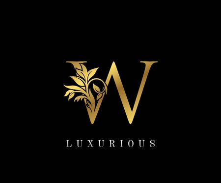 Classy Golden W Letter Floral logo. Vintage drawn emblem for book design, weeding card, label, business card, Restaurant, Boutique, Hotel.