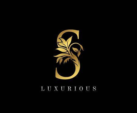Classy Golden S Letter Floral logo. Vintage drawn emblem for book design, weeding card, label, business card, Restaurant, Boutique, Hotel.
