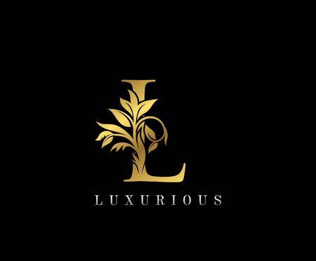 Classy Golden L Letter Floral logo. Vintage drawn emblem for book design, weeding card, label, business card, Restaurant, Boutique, Hotel.