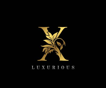 Classy Golden X Letter Floral logo. Vintage drawn emblem for book design, weeding card, label, business card, Restaurant, Boutique, Hotel. Logo