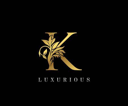 Classy Golden K Letter Floral logo. Vintage drawn emblem for book design, weeding card, label, business card, Restaurant, Boutique, Hotel.