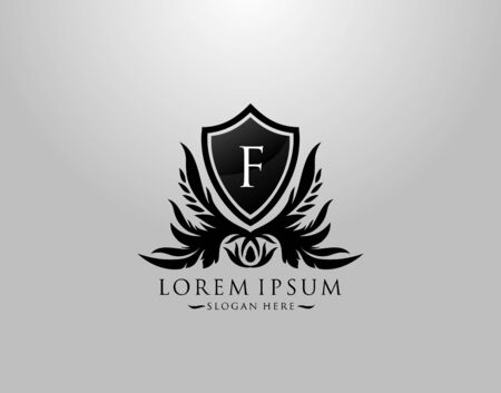 F Letter Logo. Inital F Majestic King Shield Black Design for  Boutique,  Hotel, Photography, Jewelry, Label.