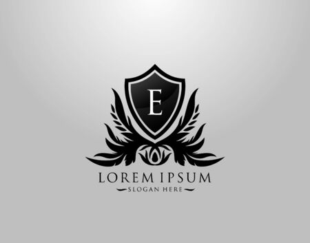 E Letter Logo. Inital E Majestic King Shield Black Design for  Boutique,  Hotel, Photography, Jewelry, Label.