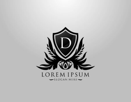 D Letter Logo. Inital D Majestic King Shield Black Design for  Boutique,  Hotel, Photography, Jewelry, Label.