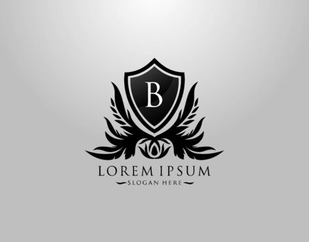 B Letter Logo. Inital B Majestic King Shield Black Design for  Boutique,  Hotel, Photography, Jewelry, Label.