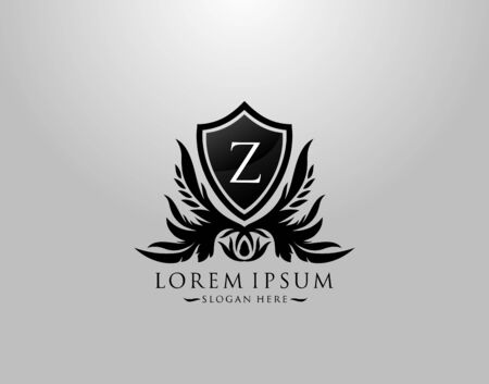 Z Letter Logo. Inital Z Majestic King Shield Black Design for  Boutique,  Hotel, Photography, Jewelry, Label.