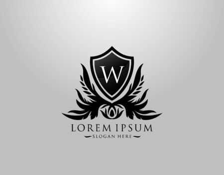 W Letter Logo. Inital W Majestic King Shield Black Design for  Boutique,  Hotel, Photography, Jewelry, Label.