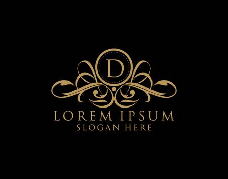 Luxury D Letter Logo, Flourishes calligraphic monogram emblem template for Restaurant, Boutique,Wedding, Hotel, Photography, Fashion and Label.