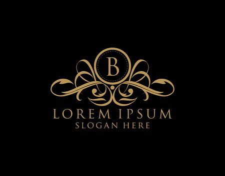 Luxury B Letter Logo, Flourishes calligraphic monogram emblem template for Restaurant, Boutique,Wedding, Hotel, Photography, Fashion and Label. 向量圖像