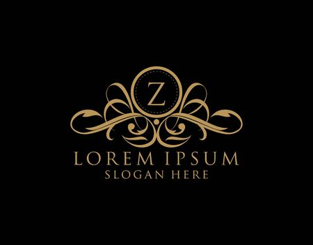 Luxury Z Letter Logo, royal Z calligraphic monogram emblem template for Restaurant, Boutique,Wedding, Hotel, Photography, Fashion and Label. 向量圖像