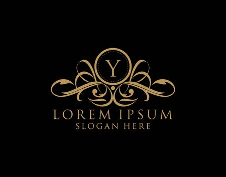 Luxury Y Letter Logo, royal Y calligraphic monogram emblem template for Restaurant, Boutique,Wedding, Hotel, Photography, Fashion and Label.