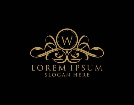 Luxury W Letter Logo, royal W calligraphic monogram emblem template for Restaurant, Boutique,Wedding, Hotel, Photography, Fashion and Label.