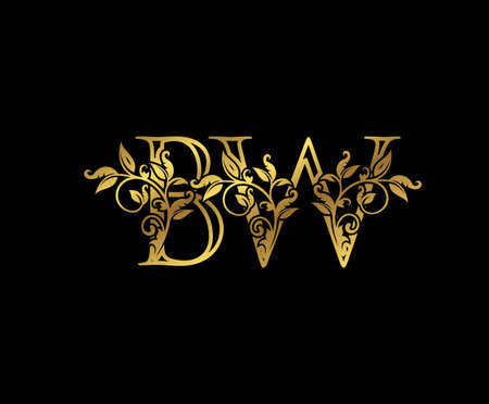 Luxury Gold letter B,W and BW Vintage decorative ornament letter stamp, wedding logo, classy letter logo icon.