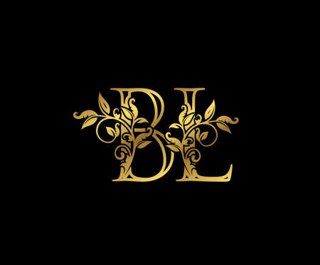 Luxury Gold letter B, L and BL Vintage decorative ornament letter stamp, wedding logo, classy letter logo icon.