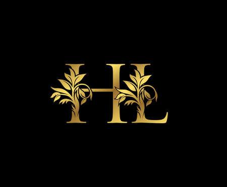 Classy Gold letter H, L and HL Vintage decorative ornament letter stamp, wedding logo, classy letter logo icon.