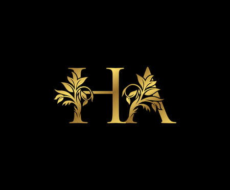 Classy Gold letter H, A and HA Vintage decorative ornament letter stamp, wedding logo, classy letter logo icon.