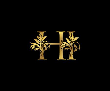 Classy Gold letter H, I and HI Vintage decorative ornament letter stamp, wedding logo, classy letter logo icon.