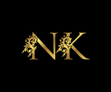 Classy Gold letter N, K and NK Vintage decorative ornament letter stamp, wedding logo, classy letter logo icon.
