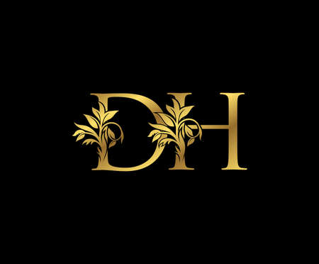 Classy Gold letter D, H and DH Vintage decorative ornament letter stamp, wedding logo, classy letter logo icon. Logos