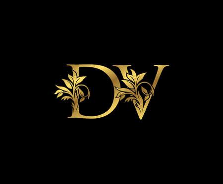 Classy Gold letter D, V and DV Vintage decorative ornament letter stamp, wedding logo, classy letter logo icon. Logos