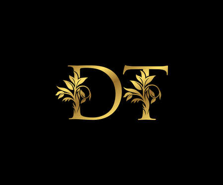 Classy Gold letter D, T and DT Vintage decorative ornament letter stamp, wedding logo, classy letter logo icon.