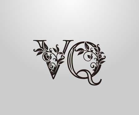 Vintage V, Q and VQ Letter logo. Graceful Floral Flower Alphabet Mark for letter stamp, weeding card, brand name, Restaurant, Boutique, Hotel.