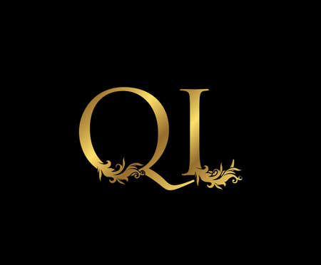 Heraldic Gold letter Q, L and QL Vintage decorative ornament letter stamp, wedding logo, classy letter logo icon. Ilustrace