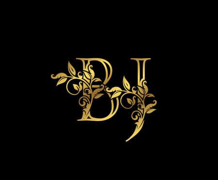 Luxury Gold letter B,J and BJ Vintage decorative ornament letter stamp, wedding logo, classy letter logo icon.