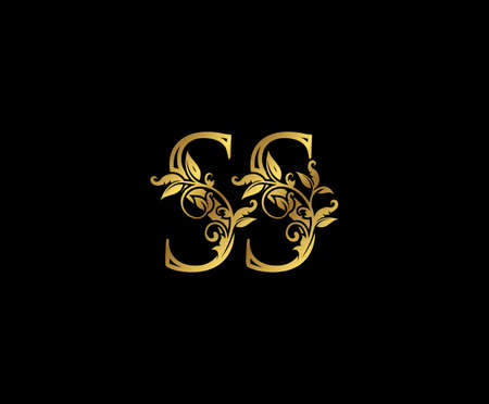 Luxury Gold letter S and SS Vintage decorative ornament letter stamp, wedding logo, classy letter logo icon.