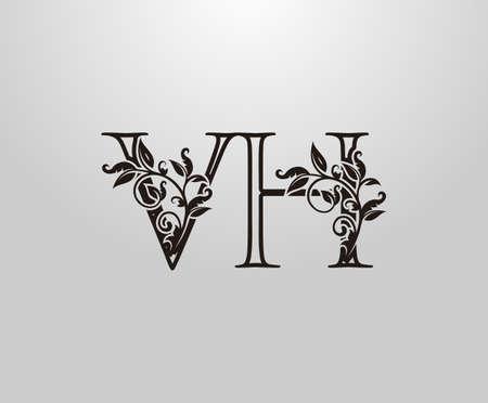 Vintage V, H and VH Letter logo. Graceful Floral Flower Alphabet Mark for letter stamp, weeding card, brand name, Restaurant, Boutique, Hotel. Logo