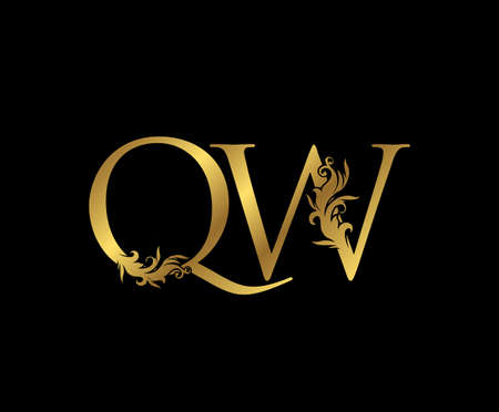 Heraldic Gold letter Q, W and QW Vintage decorative ornament letter stamp, wedding logo, classy letter logo icon. Ilustracja