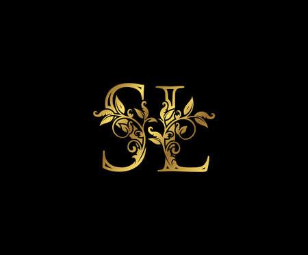 Luxury Gold letter S, L and SL Vintage decorative ornament letter stamp, wedding logo, classy letter logo icon. Logo