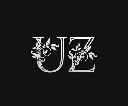 Vintage U, Z and UZ Letter logo. Graceful Floral Flower Alphabet Mark for letter stamp, weeding card, brand name, Restaurant, Boutique, Hotel. Logo