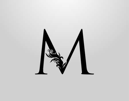 Letter M Swirl Logo. Classic M Letter Design Vector with Black Color and Floral Hand Drawn.
