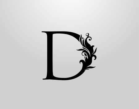 Letter D Swirl Logo. Classic D Letter Design Vector with Black Color and Floral Hand Drawn.