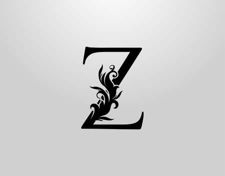 Letter Z Swirl Logo. Classic Z Letter Design Vector with Black Color and Floral Hand Drawn.
