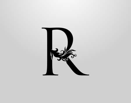 Letter R Swirl Logo. Classic R Letter Design Vector with Black Color and Floral Hand Drawn.