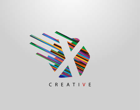Fast X Letter Logo. Creative Modern Abstract Geometric Initial X Design, made of various colorful pop art strips shapes Logo