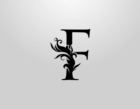 Letter F Swirl Logo. Classic F Letter Design Vector with Black Color and Floral Hand Drawn. 向量圖像