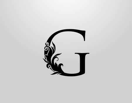 Letter G Swirl Logo. Classic G Letter Design Vector with Black Color and Floral Hand Drawn.