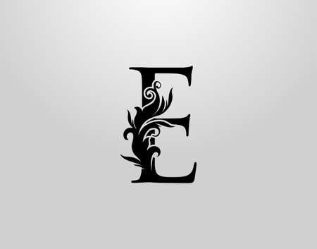 Letter E Swirl Logo. Classic E Letter Design Vector with Black Color and Floral Hand Drawn.