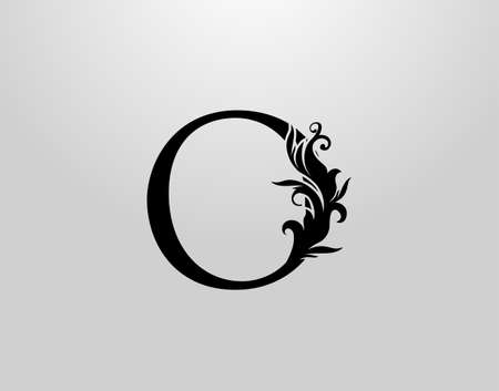 Letter O Swirl Logo. Classic O Letter Design Vector with Black Color and Floral Hand Drawn. 向量圖像
